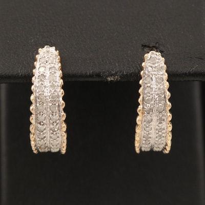 14K Two-Tone Gold Diamond J Hoop Earrings
