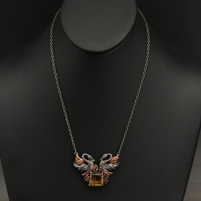 Serling Citrine, Amethyst and Spinel Double Swan Pendant Necklace