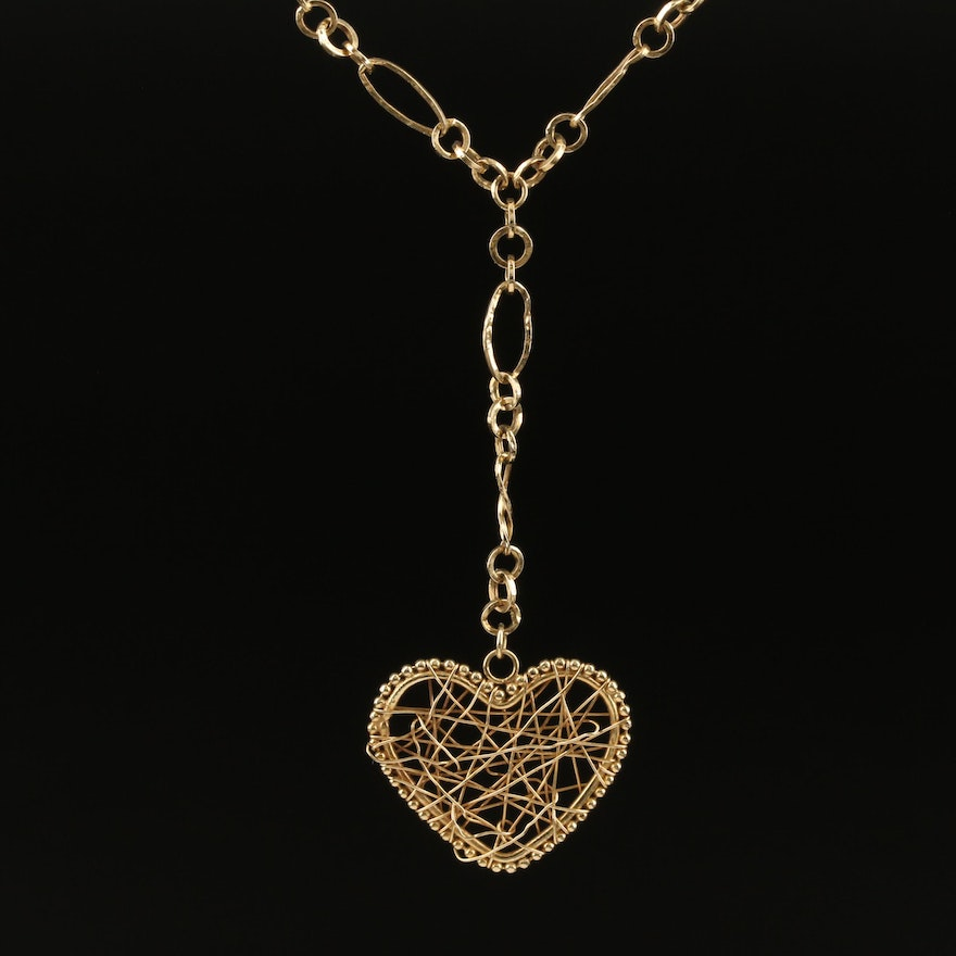 14K Wire Wrapped Drop Heart Necklace