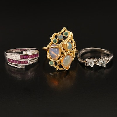 Sterling Rings Including Ruby, Diamond and Emerald