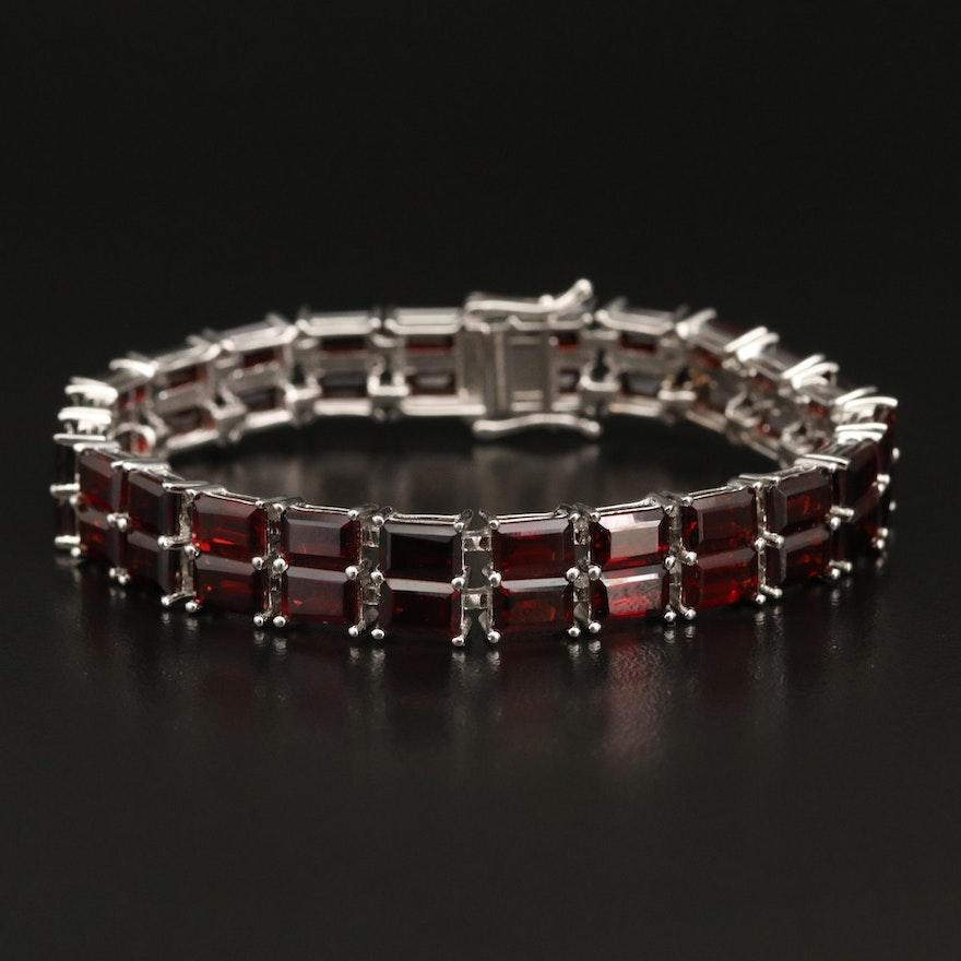 Sterling Silver Two Row Garnet Line Bracelet
