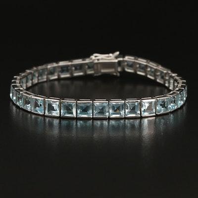Sterling Silver Sky Blue Topaz Line Bracelet