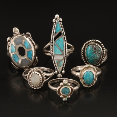 Southwestern Style Sterling Rings Including Turtle, Turquoise, Mother of Pearl