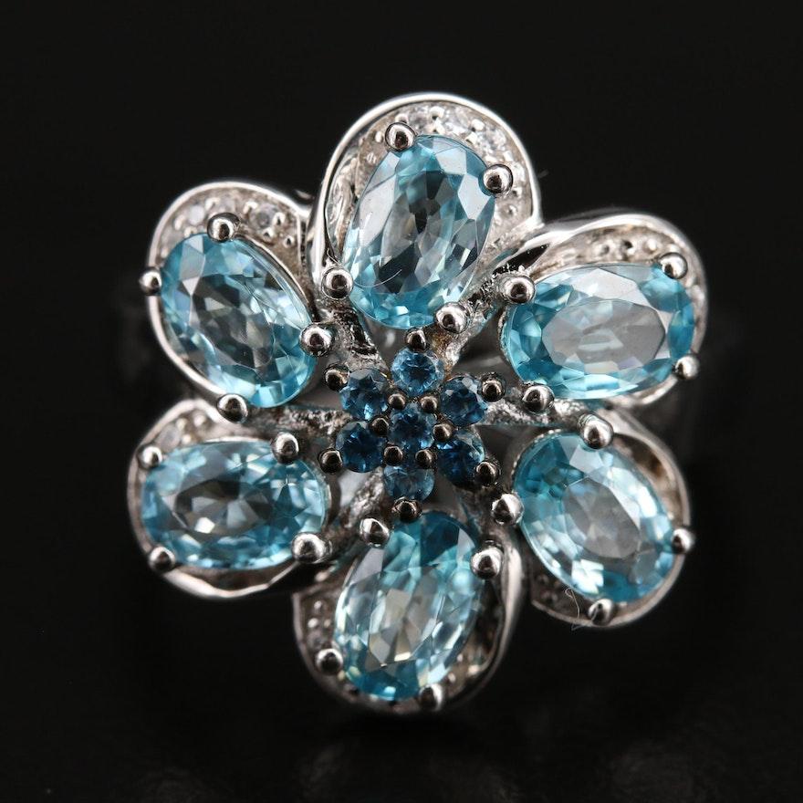 Sterling Swiss Blue Topaz and Zircon Flower Ring