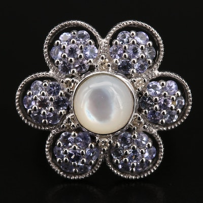Sterling Mother of Pearl, Diamond and Gemstone Flower Ring