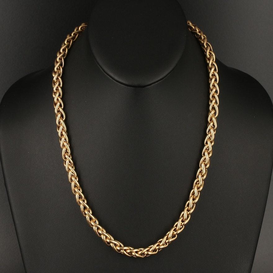 14K Italian Wheat Chain Necklace