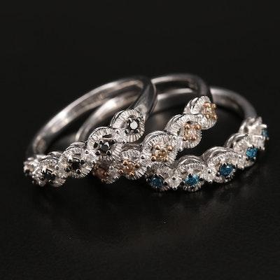 Sterling Diamond Stacking Rings