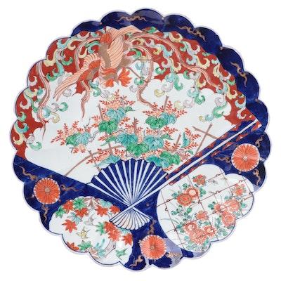 Japanese Porcelain Imari Scalloped Fan Serving Dish