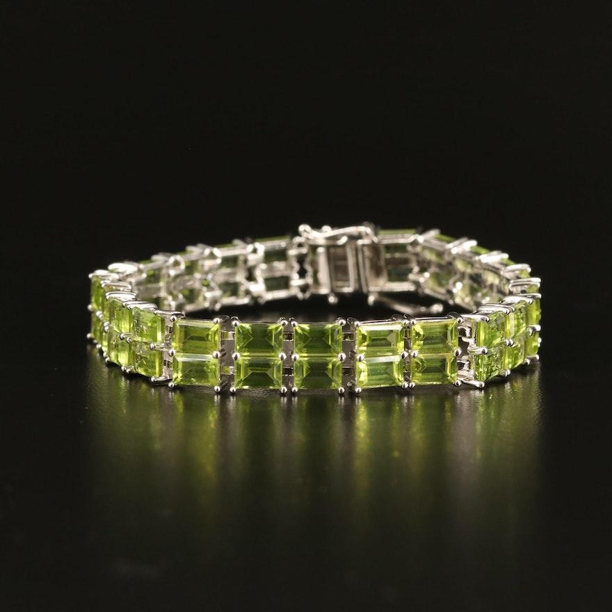 Sterling Peridot Double Row Bracelet