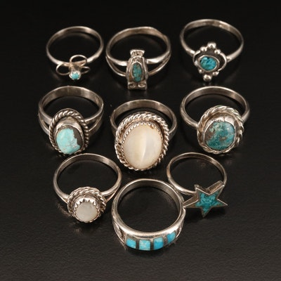 Southwestern Style Sterling Rings Including Turquoise and Mother of Pearl