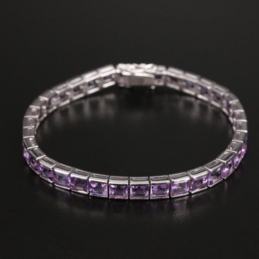 Sterling Amethyst Line Bracelet