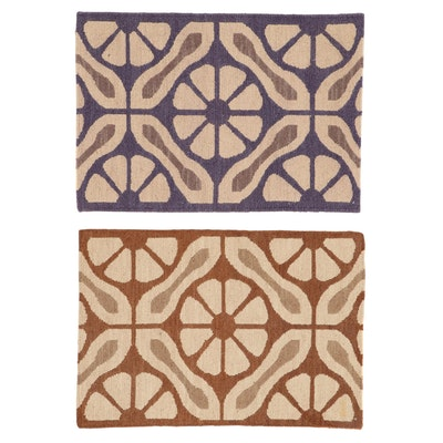 2' x 3' Handwoven Indian Modern Style Rugs, 2010s