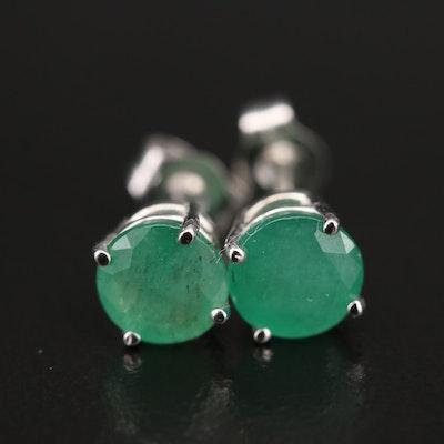 14K Emerald Stud Earrings