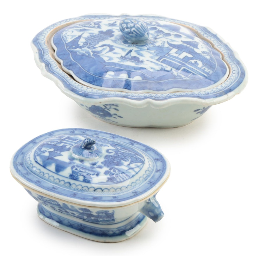 Chinese Export Canton Blue and White Porcelain Lidded Dishes, Antique