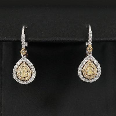 18K 1.00 CTW Diamond Teardrop Earrings