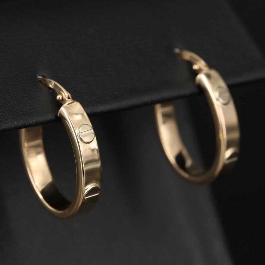Italian 14K Oval Hoop Earrings