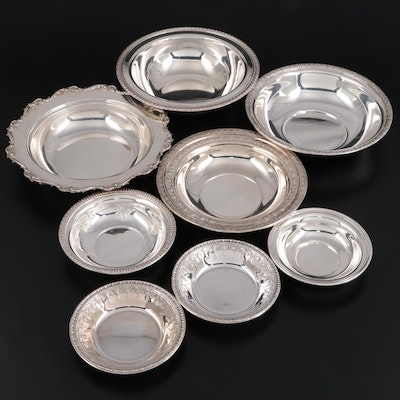 Assorted American Silver Plate Bowls with Peruvian Sterling Silver Bowl