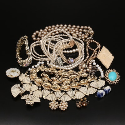 Vintage Jewelry Featuring Coro Rhinestone Bracelet and Delft Earrings