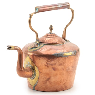 Copper and Brass Tea Kettle, Antique