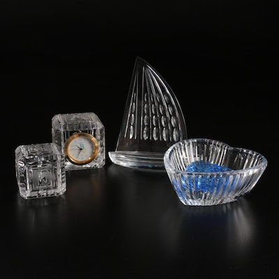 Waterford Crystal Paperweight, Clock, and Bowl with Other Glass Paperweight