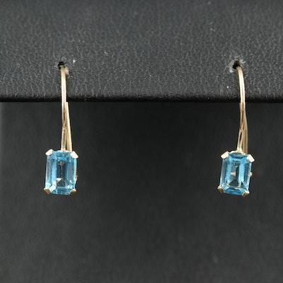 14K Sky Blue Topaz Drop Earrings