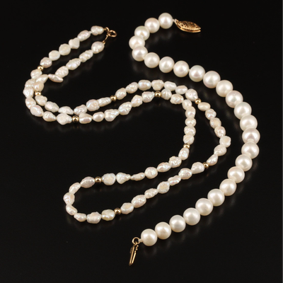 14K Baroque Pearl Necklace and Bracelet