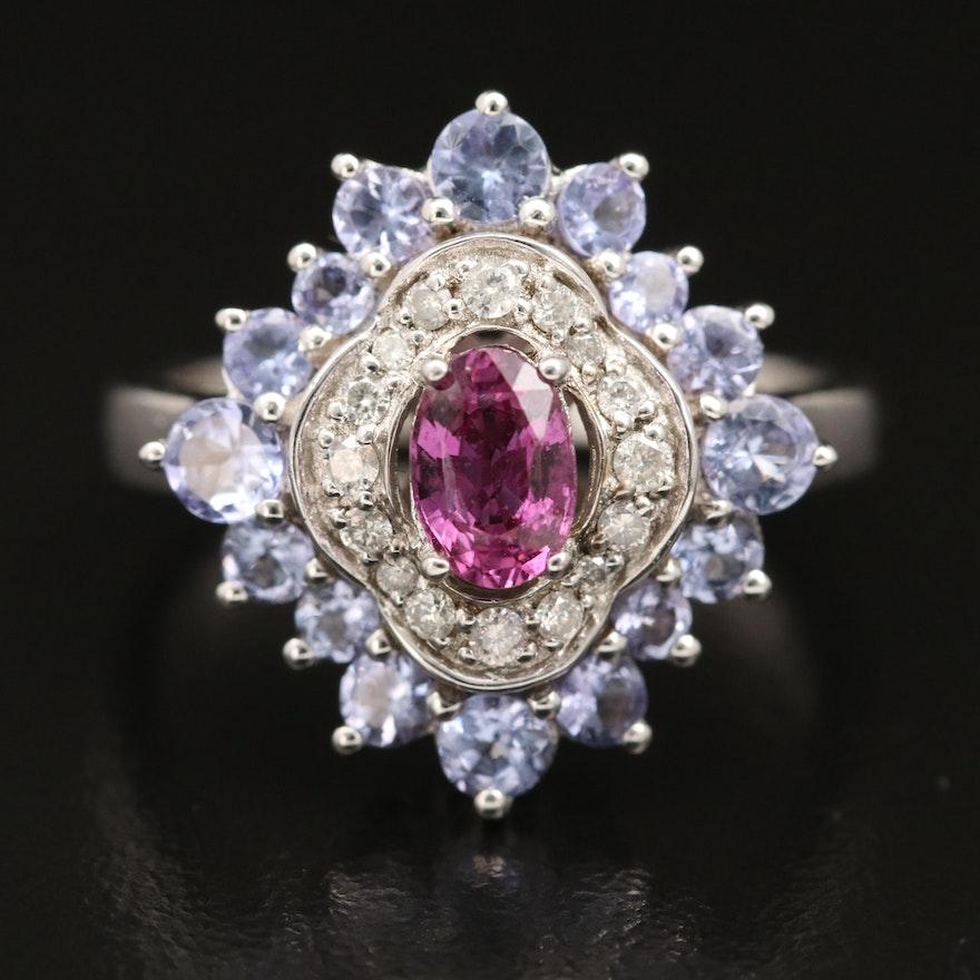 Sterling Tanzanite, Sapphire and Diamond RIng