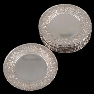 """S. Kirk & Son Sterling Silver """"Repousse"""" Bread Plates"""