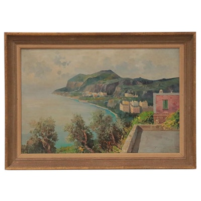 Italian Coastal Landscape Oil Painting
