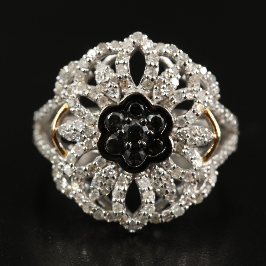 Sterling 1.00 CTW Diamond Openwork Ring