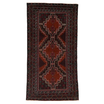 3'9 x 7' Hand-Knotted Persian Baluch Rug, 2000s
