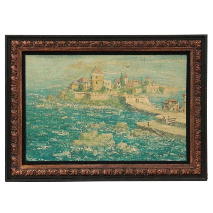 Coastal Landscape Oil Painting of Seaside Village