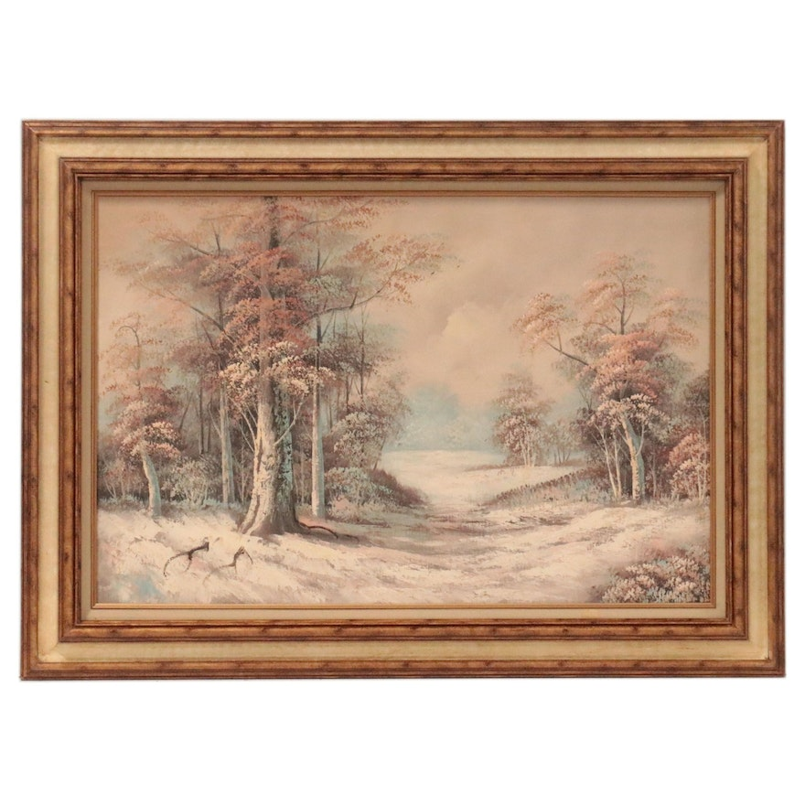 Woodland Landscape Oil Painting, Mid-Late 20th Century