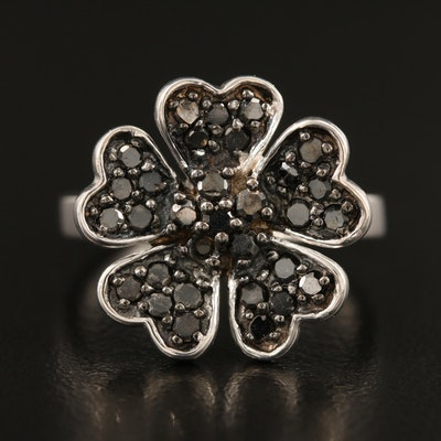 Sterling Black Diamond Ring