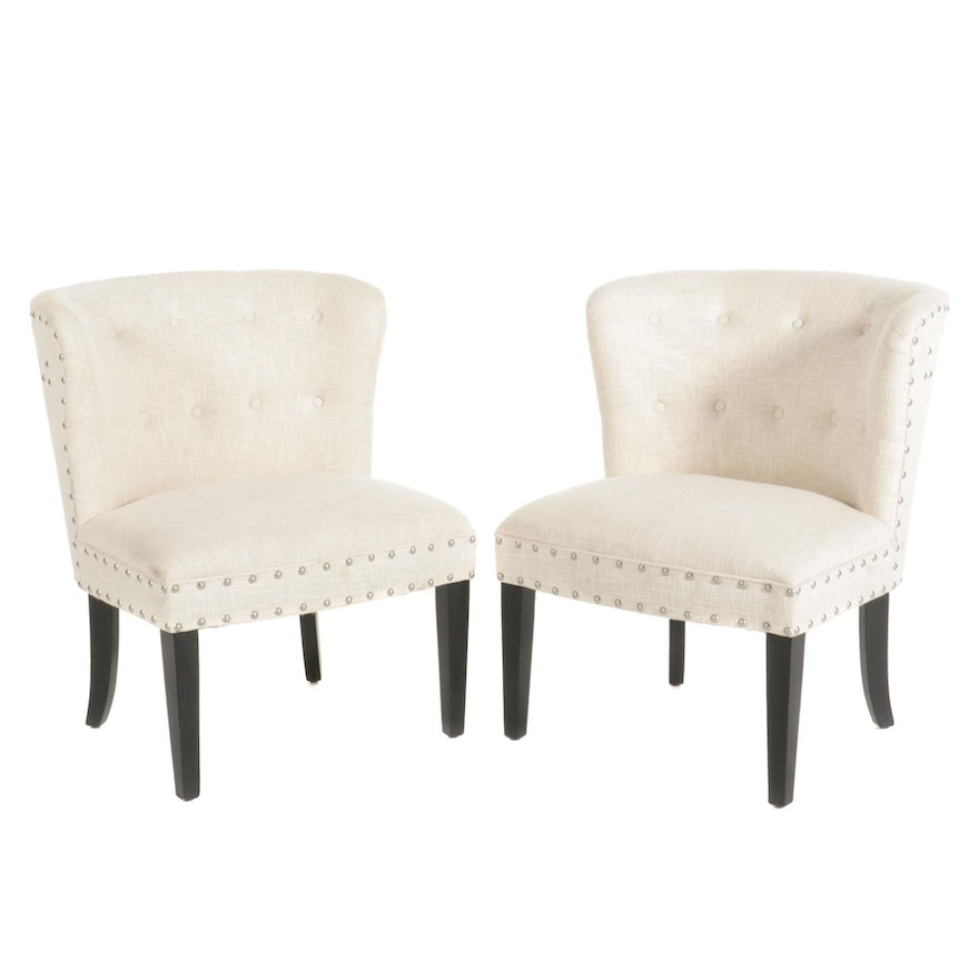 Pair of At Home Button-Tufted Upholstered Side Chairs