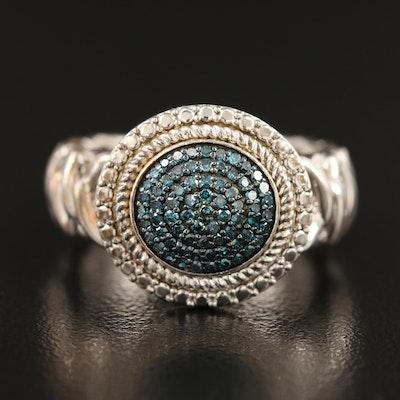 Sterling Blue Diamond Ring