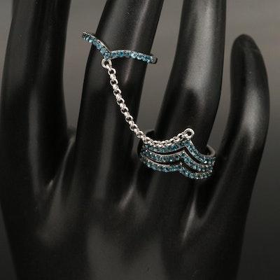 Sterling London Blue Topaz Two Finger Chevron Ring