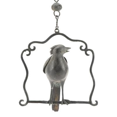 Chinese Cast Metal Hanging Bird Figurine