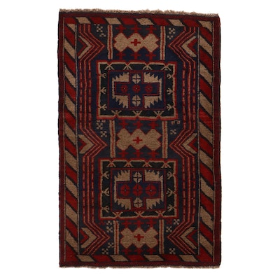 2'9 x 4'3 Hand-Knotted Afghan Turkmen Rug, 2000s