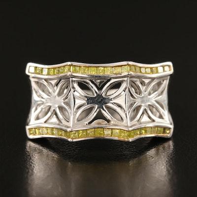 Sterling Yellow Diamond Lattice Ring