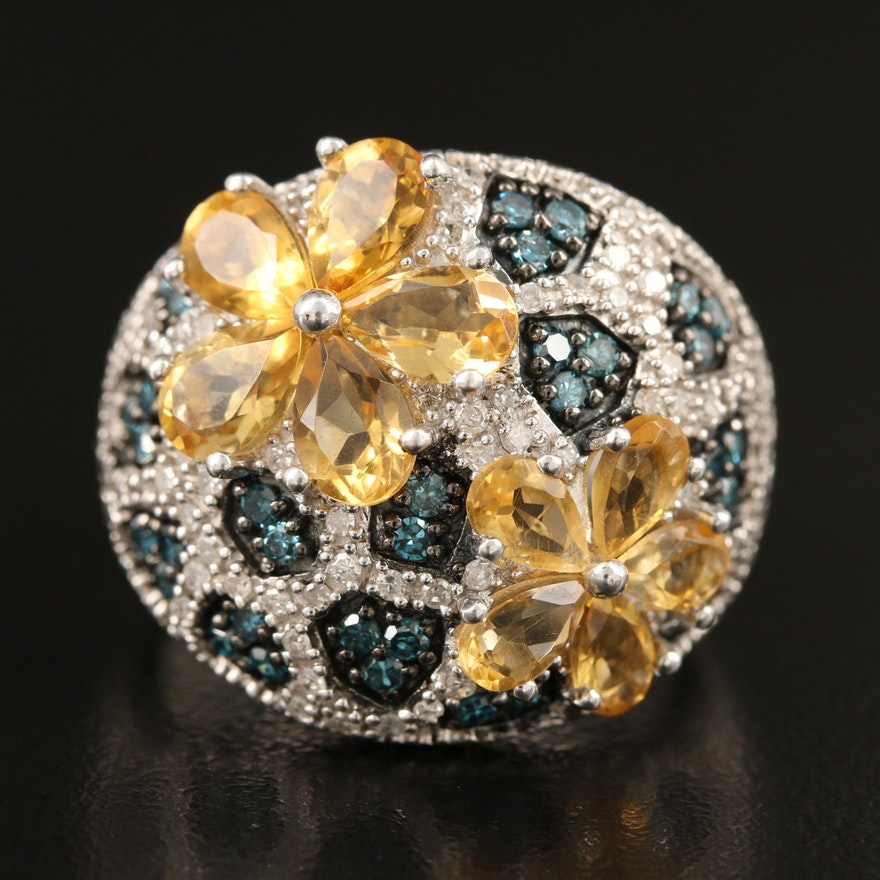 Sterling Citrine and Diamond Floral Ring