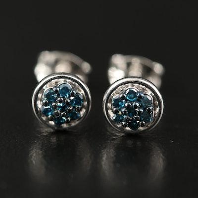 Sterling Blue Diamond Cluster Stud Earrings