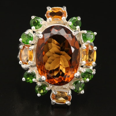Sterling Citrine and Diopside Ring