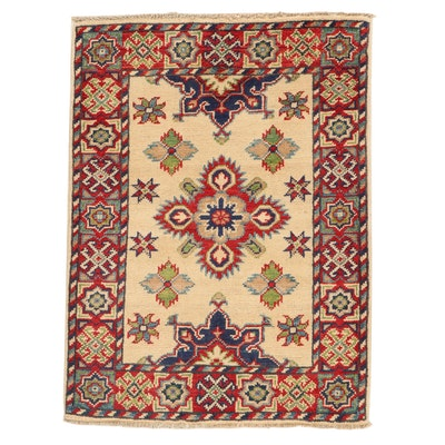 2' x 2'9 Hand-Knotted Afghan Caucasian Kazak Rug, 2010s