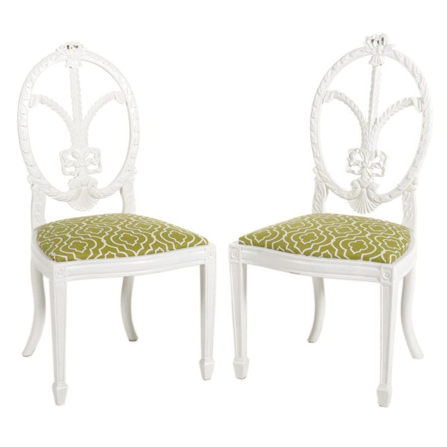 Pair of Hepplewhite Style White-Painted Wood Side Chairs, 20th Century
