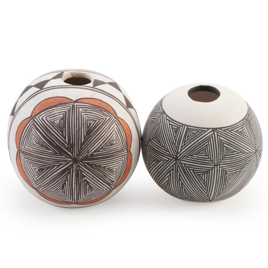 Southwestern Pueblo Indian Pottery Handmade Jemez Style Vases