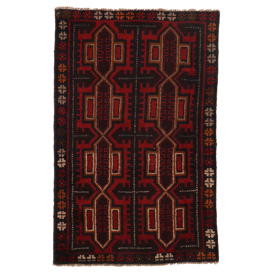 2'11 x 4'6 Hand-Knotted Afghan Turkmen Rug, 2000s