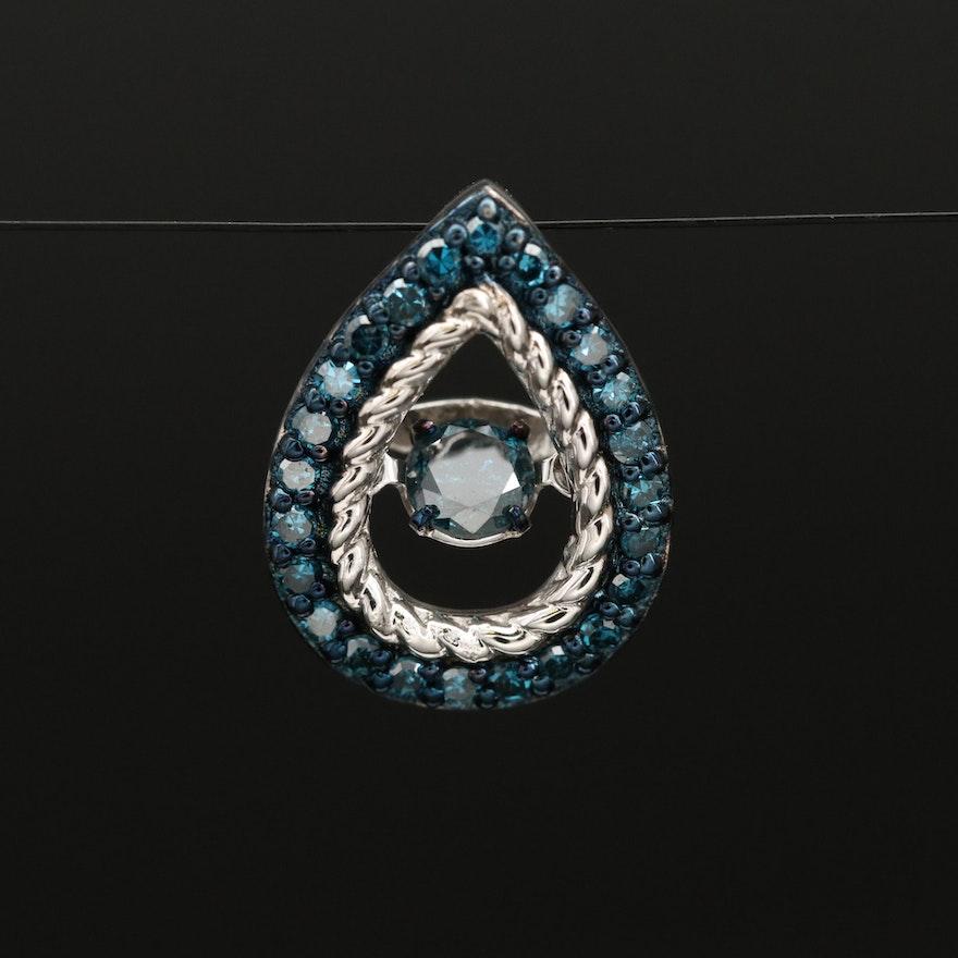 Sterling Floating Center Diamond Pendant