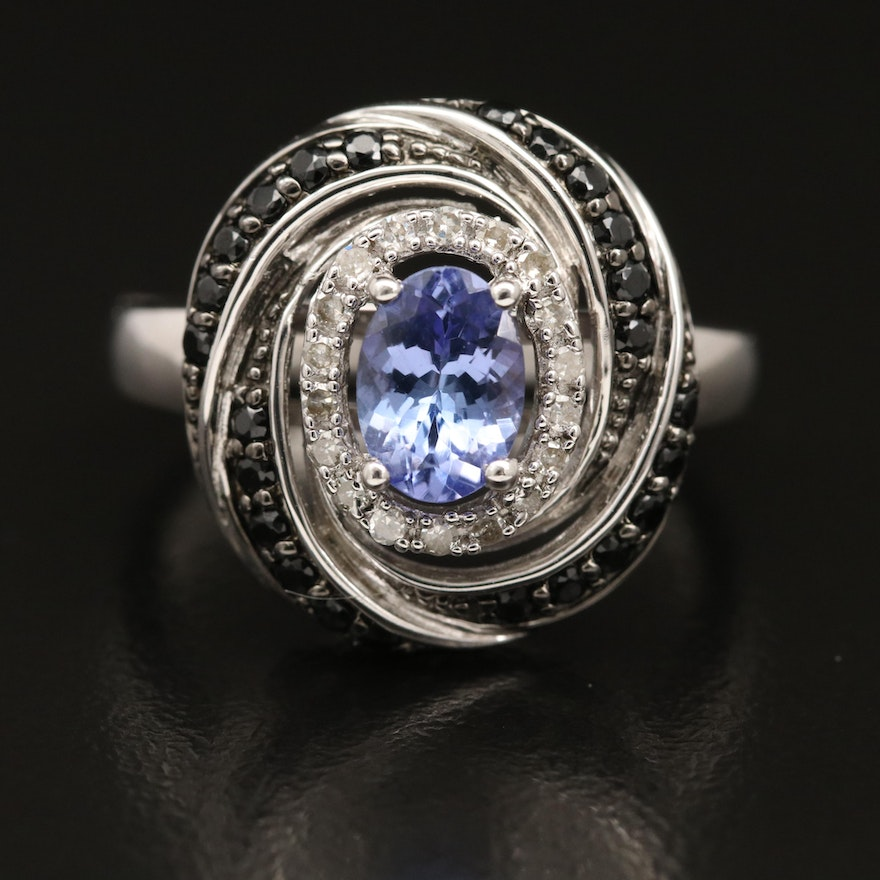 Sterling Silver Tanzanite, Diamond and Spinel Ring