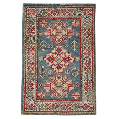 2' x 3'1 Hand-Knotted Afghan Caucasian Kazak Rug, 2010s